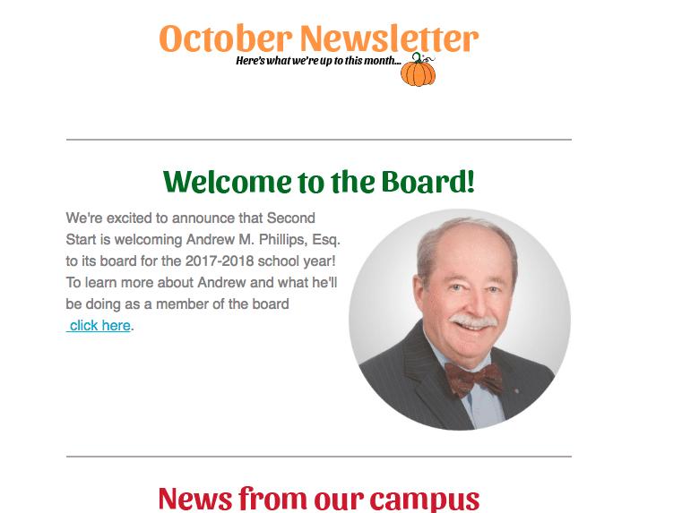 Screenshot of October 2017 newsletter