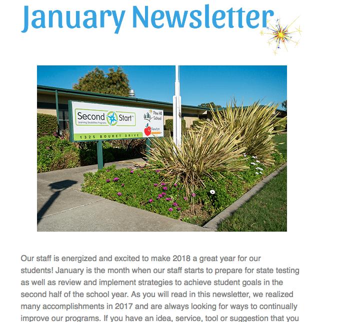 Screenshot of January 2018 Newsletter